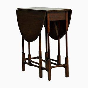 Antique English Mahogany Drop-Leaf Side Table