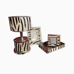 Accessori da scrivania in metallo argentato, anni '70, set di 4