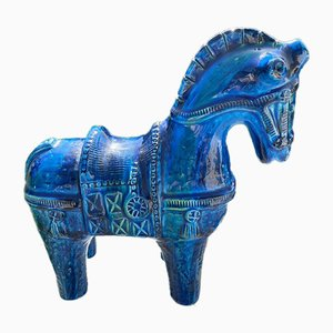 Blue Horse by Aldo Londi for Bitossi, 1960s