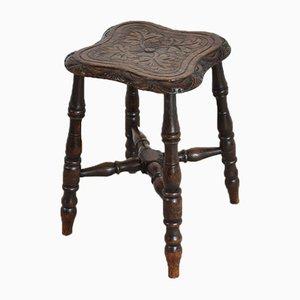 Antiker Eichenholz Hocker mit geschnitzter Tischplatte