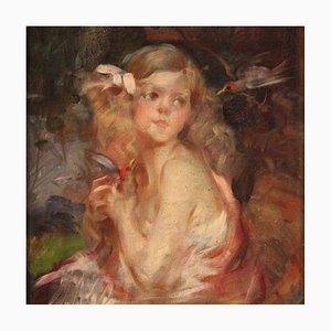 Retrato inglés antiguo, una niña, siglo XIX