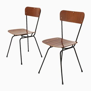 Curved Plywood & Metal Chairs, 1950s, Set of 2