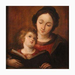 Panneau Antique, Education de la Vierge, 18ème Siècle