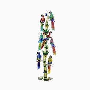 Albero grande in vetro di Murano con 7 pappagalli di Oscar Zanetti / Arnaldo Zanella, anni '70, set di 10
