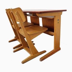 Schreibtisch & Stühle aus Buche von Casala, 1970er, 3er Set