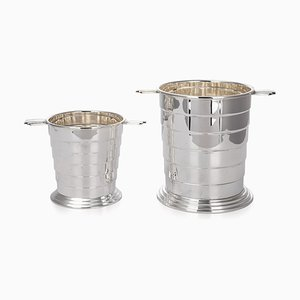 20th Century Art Deco Silver-Plated Wine Cooler & Ice Bucket from Barker Brothers, 1930s, Set of 2