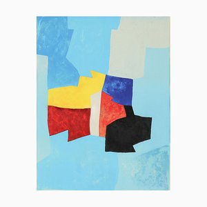 20th Century, Serge Poliakoff, Lithograph, Blue Composition, Yellow and Red