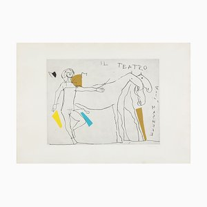 Abstrakte Farbradierung des 20. Jahrhunderts von Marino Marini, Horses