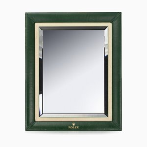 20th Century Green Leather Mirror by Rolex for Rolex, 1980s