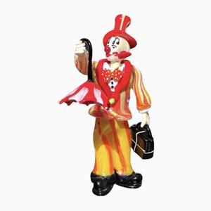 Glass Traveling Clown Figurine with Umbrella by Dario Frare, Set of 2
