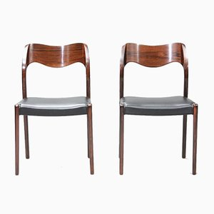 Mid-Century Rosewood Model 71 Dining Chairs by Niels Otto Møller for J.L. Møllers, Set of 6
