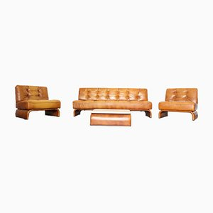 Leder & Travertin Sitzgruppe von Johannes Spalt für Wittmann, 1960er, 4er Set