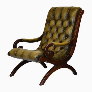 20th Century Button Leather Scroll Back Armchair