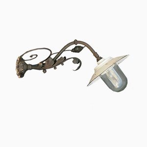 Large Antique Wrought Iron Outdoor Lamp