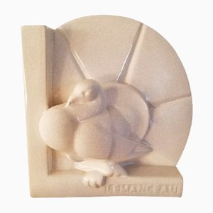 Pigeon en Céramique par Charles Lemanceau pour Saint Clément, 1920s