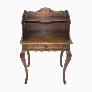 Rococo Style Oak Nightstand or Side Table, 1930s