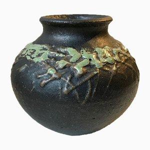 Black Nordic Fat Lava Vase by Palle Skat Nielsen, 1970s