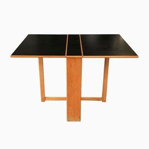 Klappbarer Gateleg Esstisch mit Gestell aus Buche & schwarzer Micarta Tischplatte von Habitat, 1980er