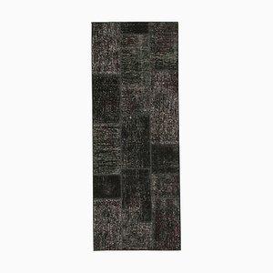 Vintage Black Patchwork Runner Rug