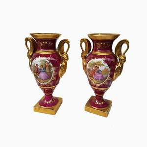 Limoges Porcelain Vases, 1920s, Set of 2