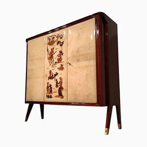 Italian Parchment Bar Cabinet by Vittorio Dassi, 1950s