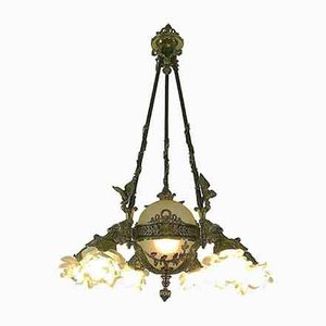 French Bronze and Glass Chandelier, 1980s