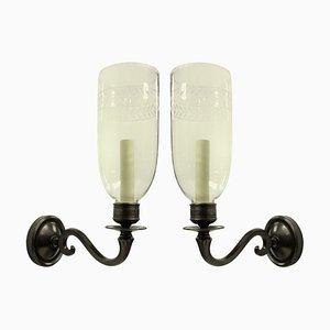 Englische Wandlampen im Regency Stil mit Storm Schirmen, 1970er, 2er Set