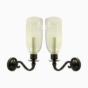English Regency Style Wall Lamps with Storm Shades, 1970s, Set of 2