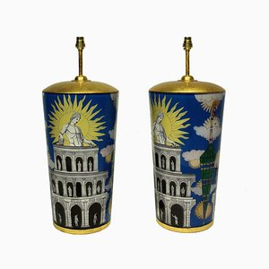 Vintage Fornasetti Style Table Lamps, Set of 2