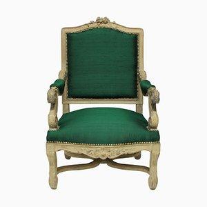 Louis XIV Style Emerald Silk Armchair