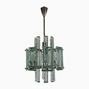 Lámpara de araña italiana de cristal de Zero Quattro, años 60