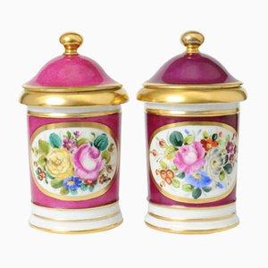 Antique Hand-Painted Paris Porcelain Jars, Set of 2