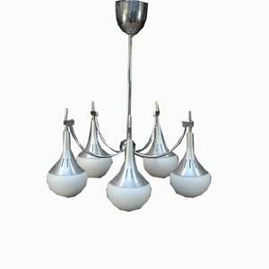 Brushed Aluminium Chandelier with Opaline Glass Globes, 1970s