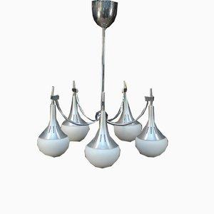 Kronleuchter aus Gebürstetem Aluminium und Opalglas, 1970er
