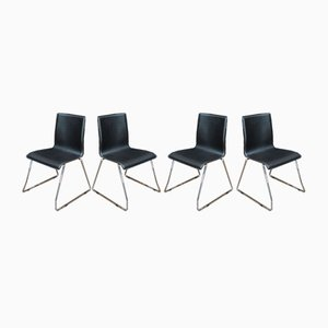 Italian Chromed Metal & Leather Chairs, 1970s, Set of 4