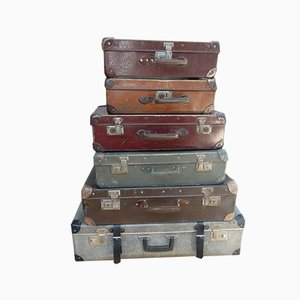 Vintage Art Deco Suitcases, Set of 6