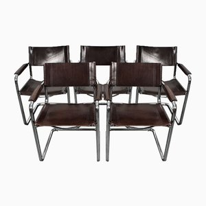 Brown Saddle Leather S34 Cantilever Armchairs by Mart Stam & Marcel Breuer for Matteo Grassi, 1980s, Set of 5