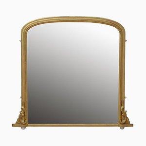 Espejo Overmantel victoriano de madera dorada