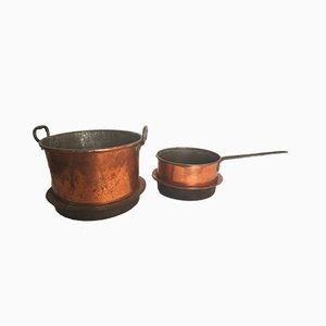 Vintage Rustic Copper Pots, Set of 2