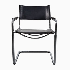 Black Leather S34 Cantilever Armchairs by Mart Stam & Marcel Breuer for Fasem, 1987, Set of 10