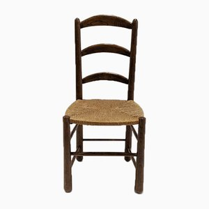Mid-Century Rustic Oak Dining Chairs, Set of 4