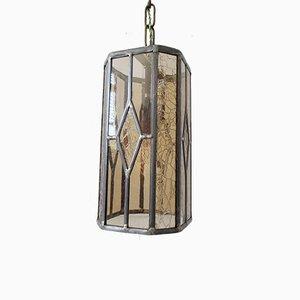 Rauchglas Deckenlampe aus gebeiztem & strukturiertem Glas, 1940er
