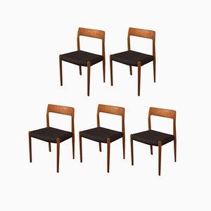 Esszimmerstühle von Niels Otto Møller, 1950er, 5er Set