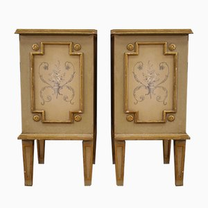 Italian Lacquered Gilded and Painted Bedside Tables, 1960s, Set of 2
