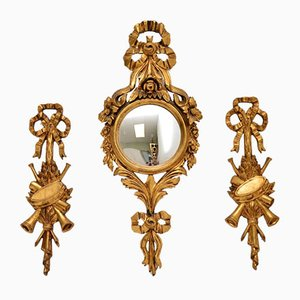Italian Giltwood Mirrors, 1950s, Set of 3
