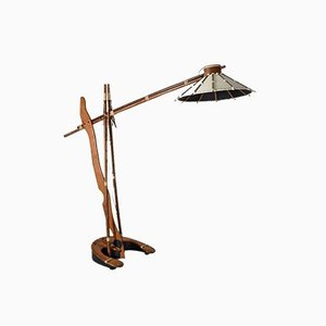 Vintage Palm Wood Arc Floor Lamp