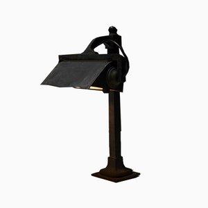 Lampe de Bureau Antique d'Avant-Guerre Industrielle en Fonte