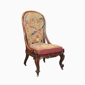 Antiker englischer Nussholz Polsterstuhl, 1840er