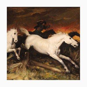 Peinture de Chevaux Coureurs, Italie, 20ème Siècle