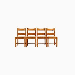Esszimmerstühle aus Pinienholz & Stroh, 1970er, 4er Set